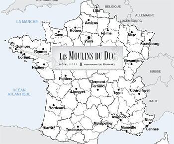 <span>Map of France with </span>Les Moulins du Duchotel emplacement